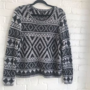 Lucky Brand Black and White Aztec Sweater Large